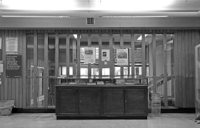 Original display cabinet on the first floor of Holborn Library photo by Laurence Mackman