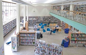 Ground floor and mezzanine reading room of Holborn Library. Photo by Laurence Mackman