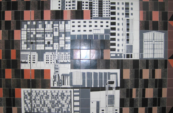 Gordon Cullen's ceramic tile mural for the Lower Precinct, Coventry, 1958