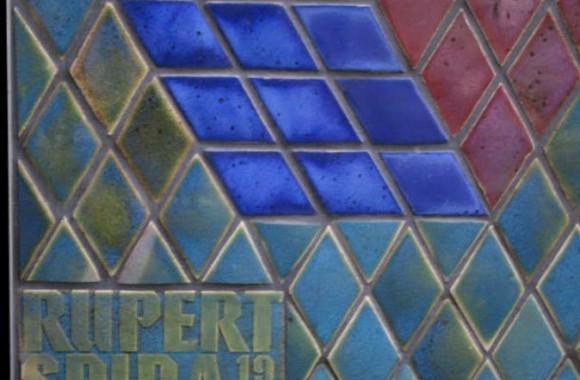 Detail of ceramic tile on Rupert Spira's mural 100 New Bridge Street