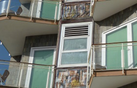 Murals on an Italian apartment block