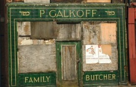 Tiled facade of Galkoff butchers in Liverpool