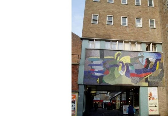 Artist Unknown, figurative mural behind the Co-op in Ipswich, 1962