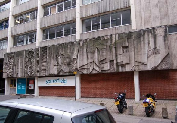 William Mitchell's cast concrete panels on the side of Somerfield, Burgess Street, Sheffield, 1972