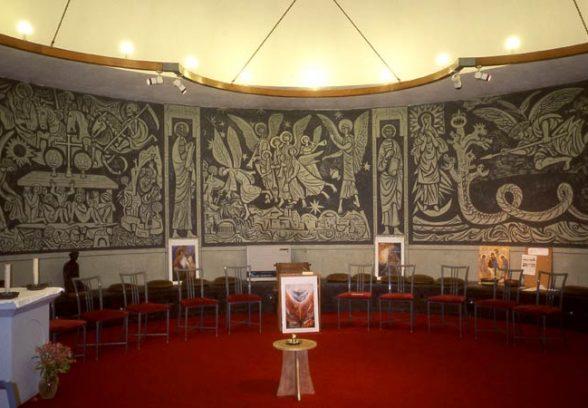 Adam Kossowski's Sgraffito decoration at St Benets Chapel, 1964
