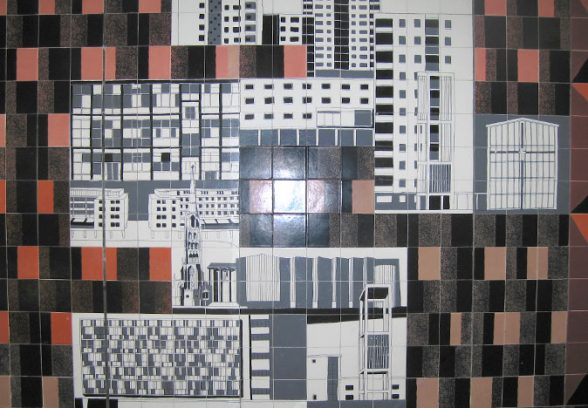 Gordon Cullen's ceramic tile mural for the Lower Precinct, Coventry, 1958