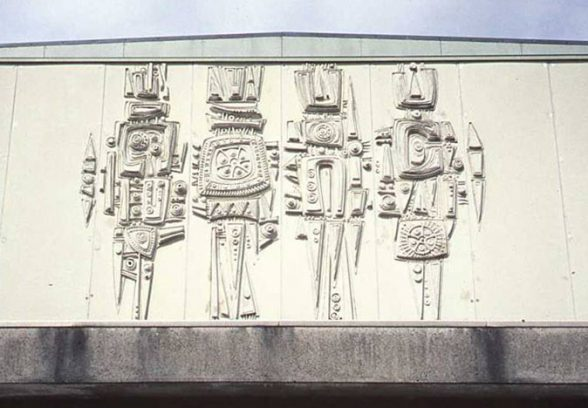 Charles Anderson's concrete mural for Greenock library, 1970, detail