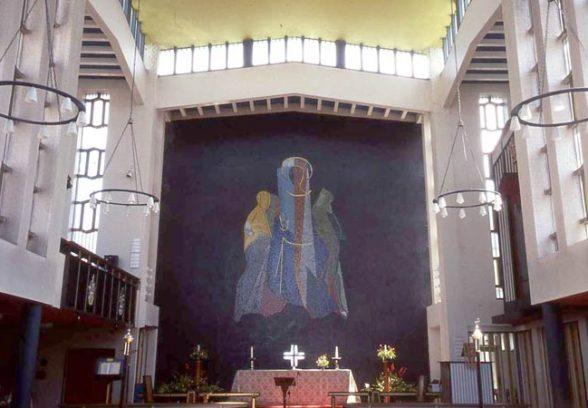 John Piper-Risen's mural of Christ at St Emmaus for St Paul's Church in Harlow, 1961