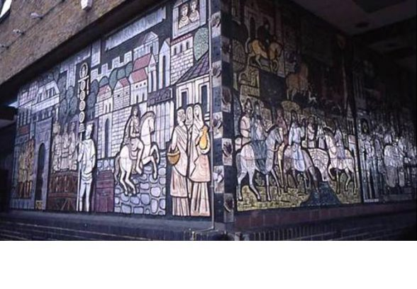 Adam Kossowski's mural of The History of The Old Kent Road for the Everlasting Arms Ministries Church, formerly Peckham Civic Centre
