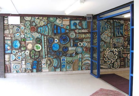 George and Joan Stephenson cermamic tile mural, College Bank Flats, Rochdale, 1966
