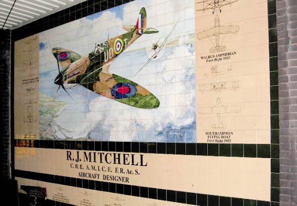 Kenneth Potts painted tile mural of a Spitfire in full flight, 1994