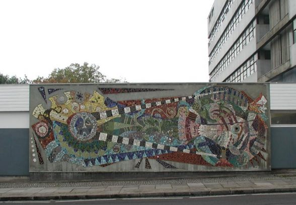 Wide angle location shot of Islington Green School Mural, a semi abstract mosaic