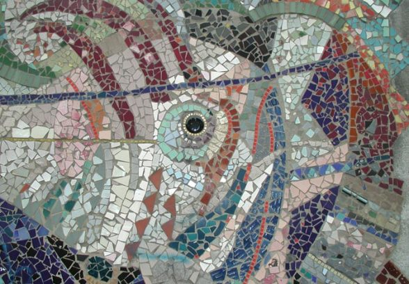 Close up shot of Islington Green School Mural, a semi abstract mosaic