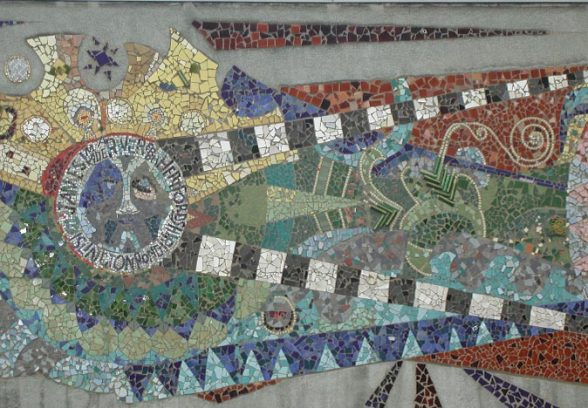 Full frame shot of Islington Green School Mural, a semi abstract mosaic