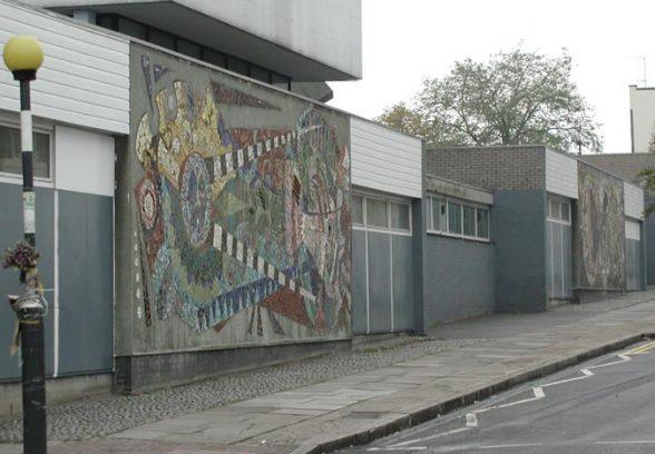Wide angle shot of Islington Green School Mural, a semi abstract mosaic