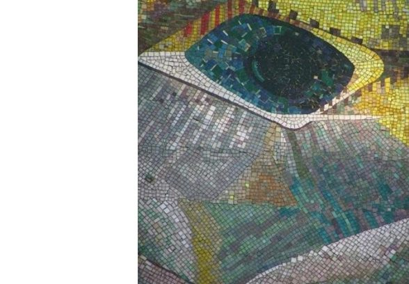 Close up of the Eye on Ray Howard Jones' mural for Western Mail's Former Office's, Cardiff, 1959