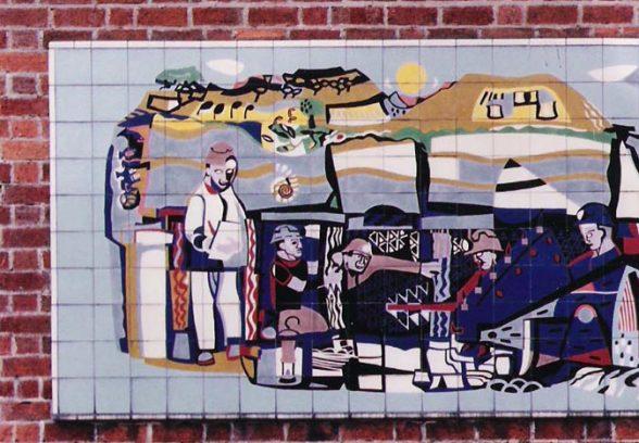 Michael Edmunds' mural for NHS in Llandough Hospital Trust, Wales, 1959, detail of left hand side