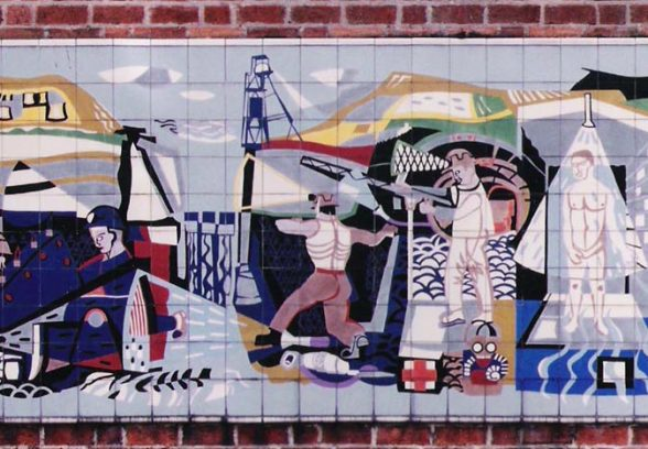 Michael Edmunds' mural for NHS in Llandough Hospital Trust, Wales, 1959, detail of the mid section