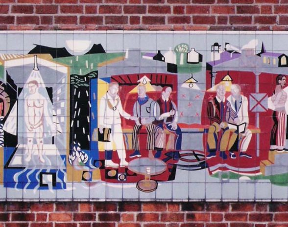 Michael Edmunds' mural for NHS in Llandough Hospital Trust, Wales, 1959, detail of mid section