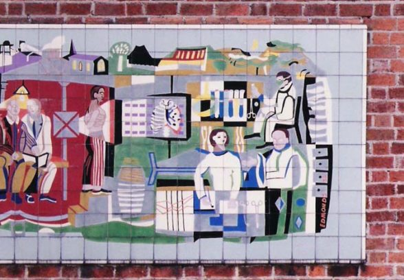 Michael Edmunds' mural for NHS in Llandough Hospital Trust, Wales, 1959, detail of the right hand side