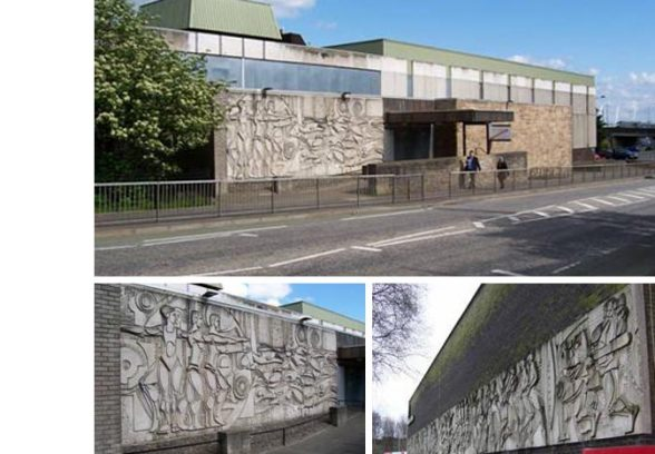 Charles Anderson's concrete mural at Rainbow Slides Pool, Stirling