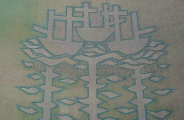 Alan Boyson mosaic mural of Three Ships in Italian Glass, Hull 1963
