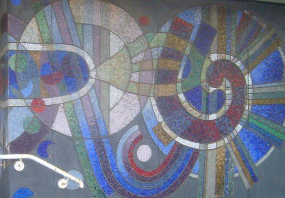 Alan Boyson ceramic tile mural at Cygnet House, Gravesham