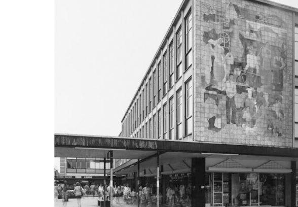 This sizeable ceramic mural – measuring 27ft x 20ft was commissioned in the late fifties by the architecture department of the Cooperative Wholesale Society Limited. Designed by G Bajio, a Hungarian artist, it is one of a number of public art works which formed part of the original plan for Stevenage town centre. The mural reflects the spirit of the Co-operative Movement, depicting a balanced economy: industry, transport, agriculture and commerce.