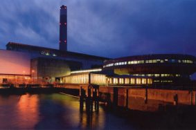 Fawley Power Station at night photo by Grahame Newnham