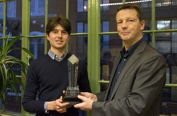 Harry Page Photo Competition 2013: Tim Page awarding the trophy to winner Laurence Mackman