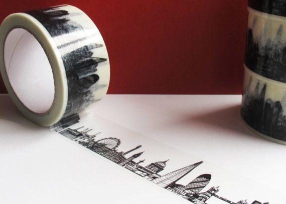 London skyline printed on sticking tape