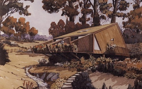 Sladnor Park holiday lodge drawing by Dale Geoff