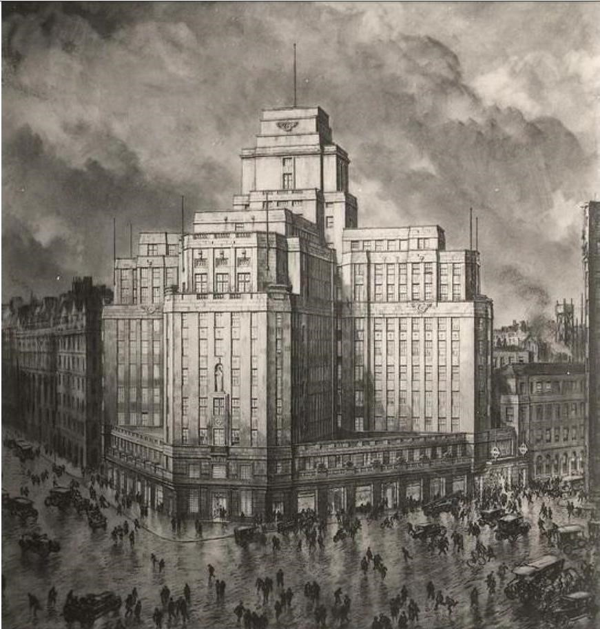 Image for c20 website: Perspective of 55 Broadway drawn by Sir David Muirhead Bone 1927  credit TfL